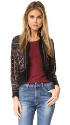 Love Sam Embroidered Jacket With Ruffle Trim Black