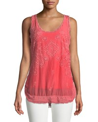 Johnny Was Eyelet Embroidered Fringe Trim Tank Passion Fruit