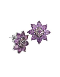 Lord And Taylor Amethyst Flower Stud Earrings Purple