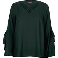 River Island Womens Dark Green Cross Front Split Sleeve Blouse