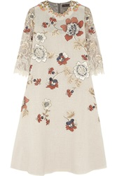Biyan Liana Embellished Embroidered Voile Lace And Lame Dress Nude