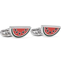 Paul Smith Watermelon Silver Tone And Enamel Cufflinks Red
