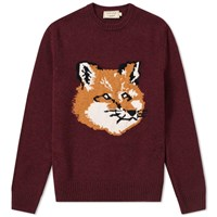 Maison Kitsune Fox Head Crew Knit Burgundy
