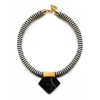 Hyes Studio Rope Marble Necklace Black White