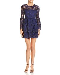 Aqua Two Toned Lace Bell Sleeve Dress Black Navy