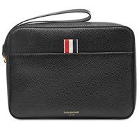 Thom Browne Leather Pouch Bag With Strap Black