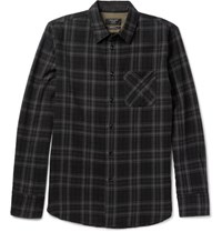 Rag And Bone Slim Fit Plaid Cotton Wool Blend Shirt Black