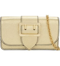 Burberry Buckle Leather Clutch Gold
