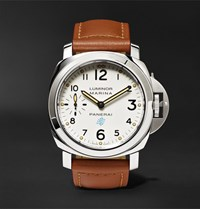 Officine Panerai Luminor Marina 44Mm Steel And Leather Watch Tan