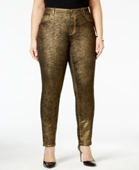 Inc International Concepts Plus Size Coated Metallic Skinny Jeans Only At Macy's Gold