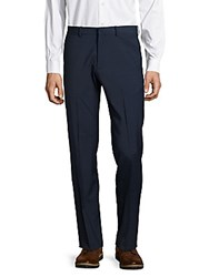 Theory Flat Front Wool Blend Pants Navy