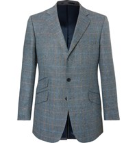 Cordings Eccles Checked Herringbone Silk And Wool Blend Blazer Blue