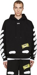 Off White Black Diagonal Spray Hoodie