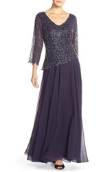 Women's J Kara Embellished V Neck Mock Two Piece Gown