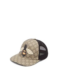 Gucci Gg And Bee Print Mesh Hat Beige