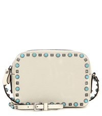 Valentino Rockstud Rolling Leather Crossbody Bag White