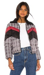 Central Park West Wesley Printed Puffer In Gray. Glen Plaid