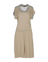 Have A Nice Day Knee Length Dresses Beige