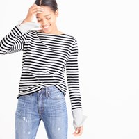 J.Crew Striped Boatneck T Shirt With Built In Cuffs