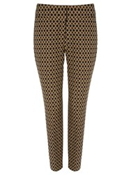 Phase Eight Erica Oval Jacquard Trousers Black Camel