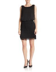 Betsy And Adam Fringed Blouson Dress Black