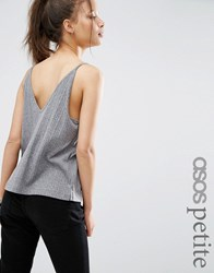 Asos Petite V Back And V Front Cami Top Grey