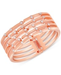 Guess Rose Gold Tone Crystal Hinged Cuff Bracelet