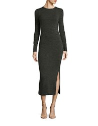 French Connection Sweater Slit Dress Olive Black