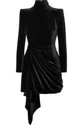 Alex Perry Parker Draped Velvet Mini Dress Black