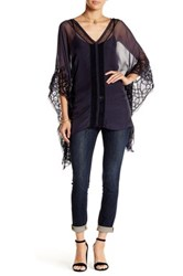 Love And Liberty Embroidered Sheer Silk Kaftan Blouse Blue