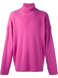 Ami Alexandre Mattiussi Oversized Turtleneck Sweater Men Wool S Pink Purple