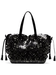Sophia Webster Ivory Butterfly Embellished Leather And Canvas Tote Bag Black