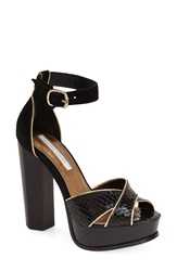 Cynthia Vincent 'Wild' Platform Sandal Women Black Leather