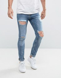 New Look Skinny Jeans With Open Rips In Blue Blue