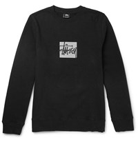 Stussy Slim Fit Reflective Print Cotton Blend Jersey Sweatshirt Black