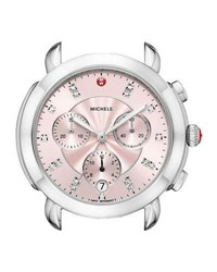 Michele Sidney Stainless Steel Watch Head With Diamonds Silver Pink