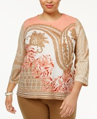 Alfred Dunner Plus Size Just Peachy Collection Embellished Knit Top Multi