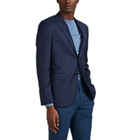 Barneys New York Plaid Wool Silk Two Button Sportcoat Navy