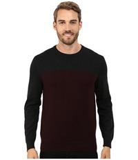Perry Ellis Color Block Crew Beck Sweater Port Men's Sweater Burgundy