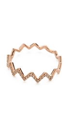 Ef Collection Pave Diamond Zigzag Stack Rings Rose Gold Clear