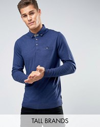 Ted Baker Tall Long Sleeve Polo Mid Blue