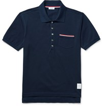 Thom Browne Mercerised Cotton Pique Polo Shirt Navy