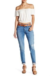Abound Mid Rise Destroyed Skinny Jean Med Blue Tint
