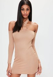 Missguided Petite Nude Metal Ring Cold Shoulder Bodycon Dress