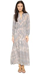 Raquel Allegra Long Sleeve Maxi Dress Smokey Topaz Tie Dye