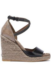 Brunello Cucinelli Woman Bead Embellished Smooth And Glittered Leather Espadrille Wedge Sandals Black