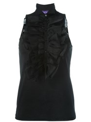 Ralph Lauren Sleeveless Ruffle Blouse Black
