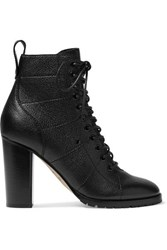Jimmy Choo Cruz 95 Textured Leather Ankle Boots Black
