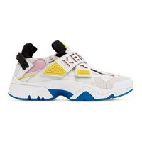 Kenzo White And Pink Sonic Velcro Sneakers
