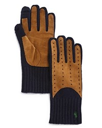 Polo Ralph Lauren Cashmere Blend Gloves W Suede Navy